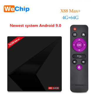 Wechip X88 Max плюс ТВ box Android 9,0 4 GB 64 GB RK3328 пента-Core 2,4G/5G dual Wifi BT V4.0 4 K HD добавить Тип-c медиаплеер USB