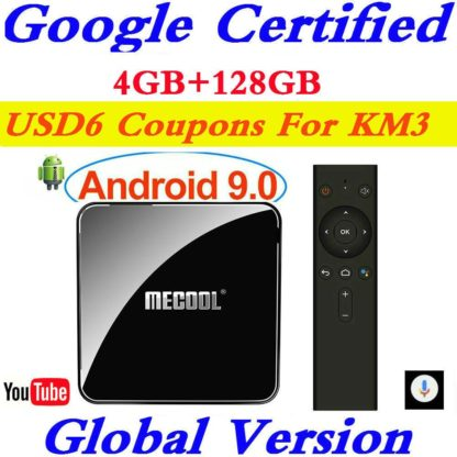Сертифицированный Google Android tv 9,0 MECOOL KM3 tv Box Android 9,0 4 Гб ram 64 Гб 128 ГБ Amlogic S905X2 4 K Voice 5G Wifi KM3 A tv