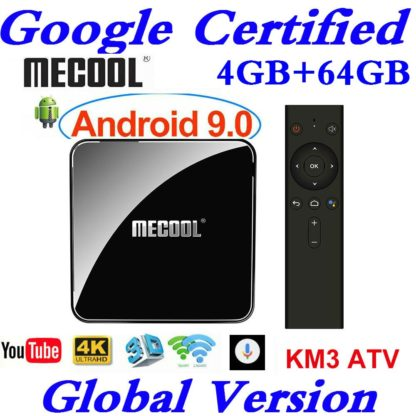 Сертифицированный Google Android tv 9,0 MECOOL KM3 tv Box Android 9,0 4 Гб ram 64 Гб 128 ГБ Amlogic S905X2 4 K Voice 5G Wifi KM3 A tv 1