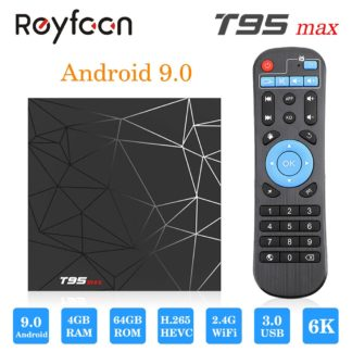 Android 9,0 ТВ коробка T95 MAX 4 Гб 64 Гб Allwinner H6 4 ядра 6 K H.265 USD3.0 Wi-Fi HDR Поддержка проигрыватель google Youtube Смарт ТВ коробка