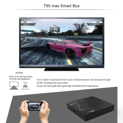 T95 MAX Smart tv BOX Android 9,0 6 K 4 ГБ ОЗУ 64 Гб ПЗУ Allwinner H6 четырехъядерный H.265 HD USD3.0 2,4G Wi-Fi YouTube T95MAX телеприставка 3