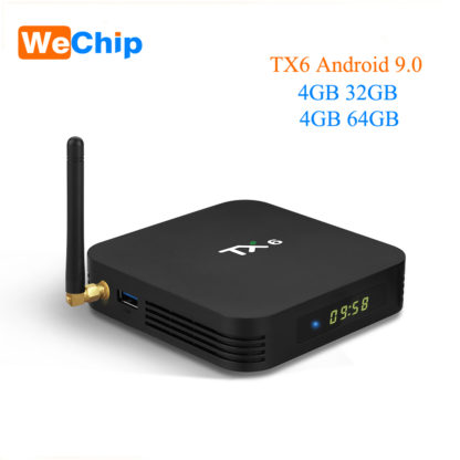 Wechip TX6 Allwinner H6 Android 9,0 ТВ коробка 4G 64G Quad core Двойной Wi-Fi Bluetooth 4,1 4 K H.265 HDR 3D Youtube Ott Media Player